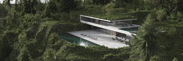 casa moderna con piscina in una foresta verde foto