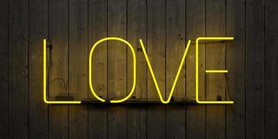 insegna al neon con la parola amore, rendering 3d