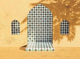 stand di presentazione del prodotto in stile arabo con ombra di palma, rendering 3d