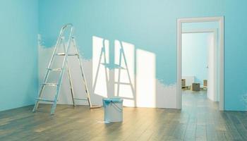 interno di una nuova casa con barattolo di vernice e mezza parete dipinta foto