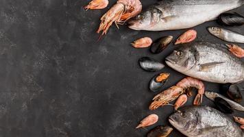 delizioso pesce fresco e gamberetti incorniciato sfondo foto