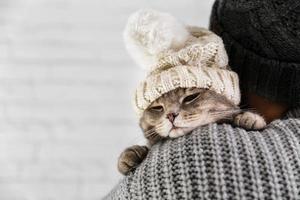 copia spazio simpatico gatto che indossa il berretto di pelliccia sulla spalla del proprietario foto
