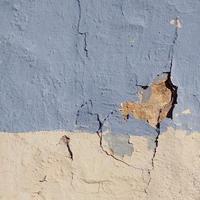 facciata di edificio vecchio muro blu foto