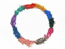 cerchio di ombretto su bianco foto