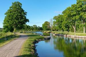 Chiusura del canale in una parte stretta del canale di Gota in Svezia foto