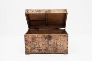 scatola di legno su uno sfondo bianco foto