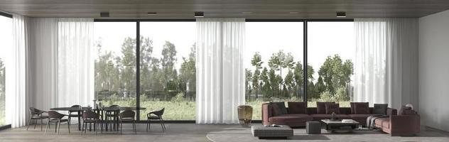 moderna sala da pranzo di lusso e soggiorno foto