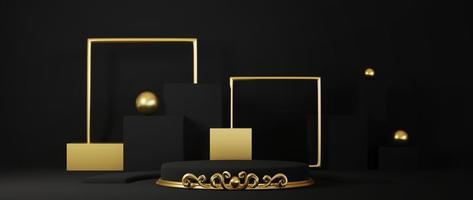piedistallo isolato su sfondo nero con montatura in oro foto