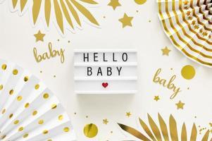vista dall'alto bellissimo concetto di baby shower foto