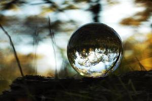 una palla lente in una foresta d'autunno foto