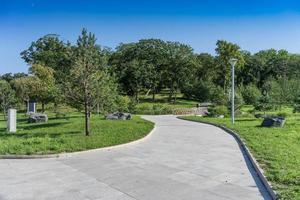 un sentiero in un moderno parco ben curato con alberi verdi e un ponte di legno foto