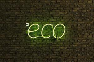 segno della lampada al neon con la parola eco foto