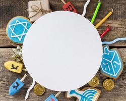 vista dall'alto concetto di hanukkah con copia spazio foto