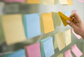 vista laterale della mano mettendo le note adesive sulla finestra foto