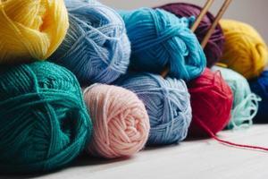 vista prospettica palle di lana. alta qualità e risoluzione bellissimo concetto di foto