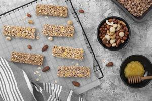 vista dall'alto di disposizione snack bar senza zucchero foto