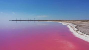 drone aereo top down foto di un lago rosa naturale e cielo blu a odessa, ucraina