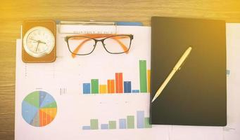 grafici e grafici sulla scrivania in ufficio foto