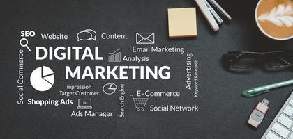 strategia di marketing digitale online e piano di analisi aziendale. concetto di affari foto