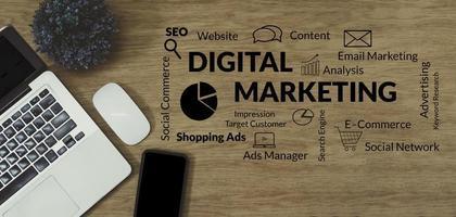 strategia di marketing digitale online e piano di analisi aziendale. concetto di business, vista dall'alto foto