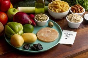 assortimento di alimenti dietetici flessitari ad alto angolo foto