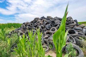 vecchi pneumatici per auto rotti ammucchiati su una montagna in un campo di grano foto