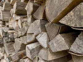 vecchi tronchi d'albero spaccati e spaccati accatastati come legna da ardere foto