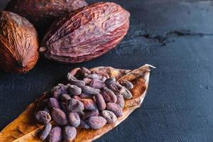 fave di cacao essiccate e cacao essiccato foto