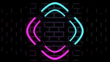 Rendering 3D che mostra luci al neon rosa e blu foto