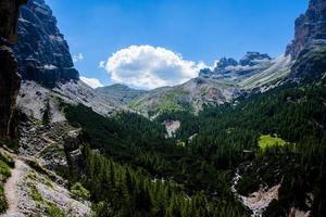 valle verde delle dolomiti foto