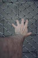 mano che raggiunge una recinzione metallica foto