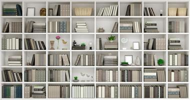 Illustrazione 3D della priorità bassa della parete di legno con i libri foto