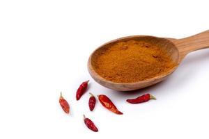spezia di paprika in cucchiaio di legno su sfondo bianco foto