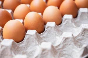un primo piano di uova di gallina crude in pannelli di uova foto