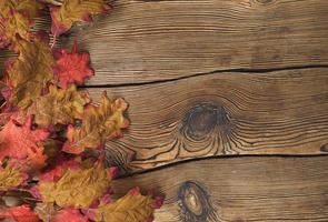 foglie autunnali colorate su uno sfondo di legno marrone foto