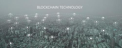 tecnologia delle linee di collegamento blockchain e concetto di sicurezza informatica, rete fintech e social digitale moderno foto