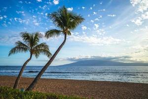 scenario alla spiaggia di kaanapali sull'isola di maui, hawaii, us foto