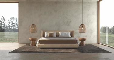 minimalismo moderno camera da letto interna design scandinavo con parete in stucco mock up foto