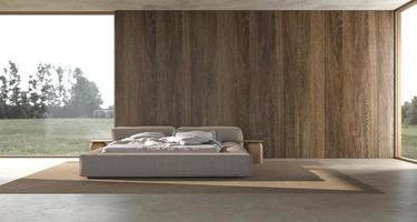 minimalismo moderno camera da letto interna design scandinavo con parete in legno mock up foto