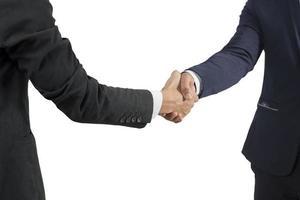 uomo d'affari che stringe la mano isolare su sfondo bianco foto