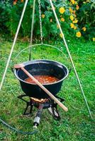 cucinare la zuppa di gulasch di manzo in un calderone foto