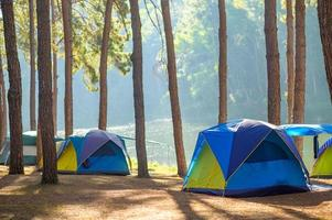 ballare in campeggio nella foresta di pang ung, provincia di mae hong son, thailandia foto