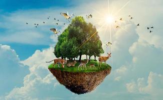 albero della foresta fauna selvatica tigre cervo isola degli uccelli che galleggia nel cielo giornata mondiale dell'ambiente giornata mondiale della conservazione giornata della terra foto