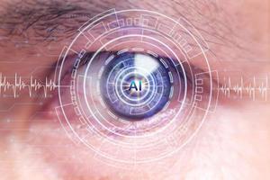 occhio umano e concetto high-tech, screening dei big data e strategia tecnologica di trasformazione digitale, digitalizzazione dei processi e dei dati aziendali foto