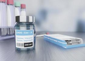 Assortimento di fiale di vaccino 3d covid19 foto