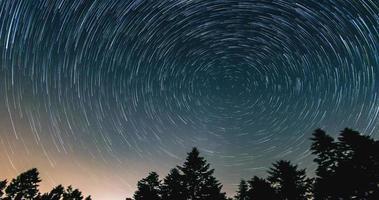 tracce stellari nel cielo notturno - modalità cometa, lasso di tempo di tracce stellari, alberi di pino in primo piano, avala, belgrado, serbia. il cielo notturno è astronomicamente preciso. foto