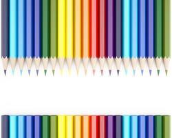 Rendering 3D di matite colorate su sfondo bianco foto