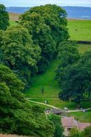bella scena di persone che passeggiano e pascolano mucche a Lyme Park, Cheshire, Regno Unito foto