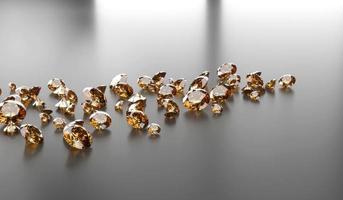 gemma di topazio diamante rotondo posta su sfondo scuro riflesso 3d illustrazione foto