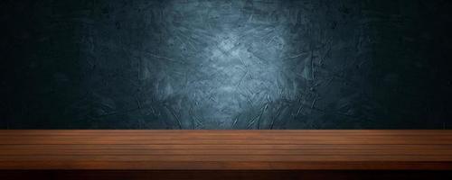 tavolo in legno per presentare e mostrare il prodotto su un morbido cemento blu e blu scuro e uno sfondo di cemento foto